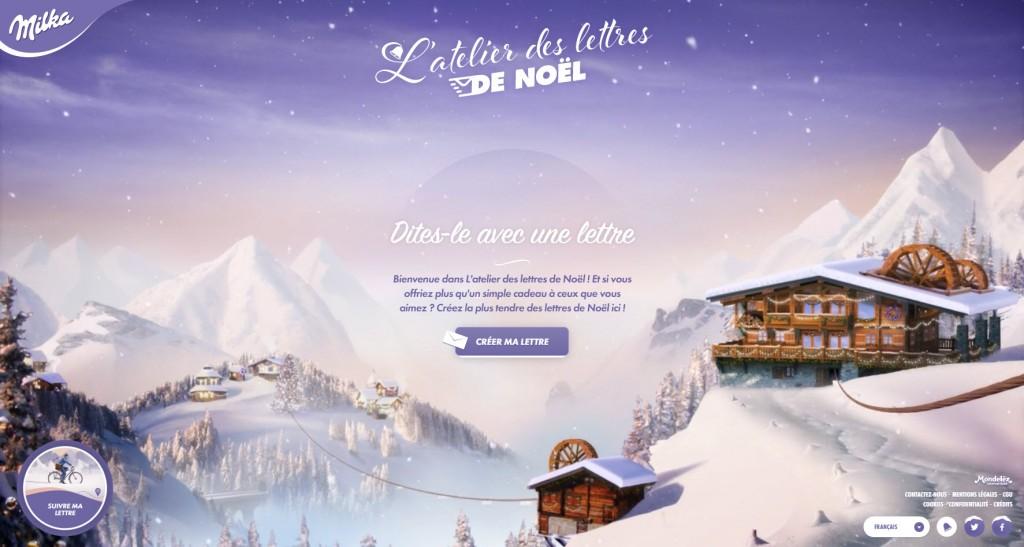 Capture du site Milka : envoyez une lettre de Noël