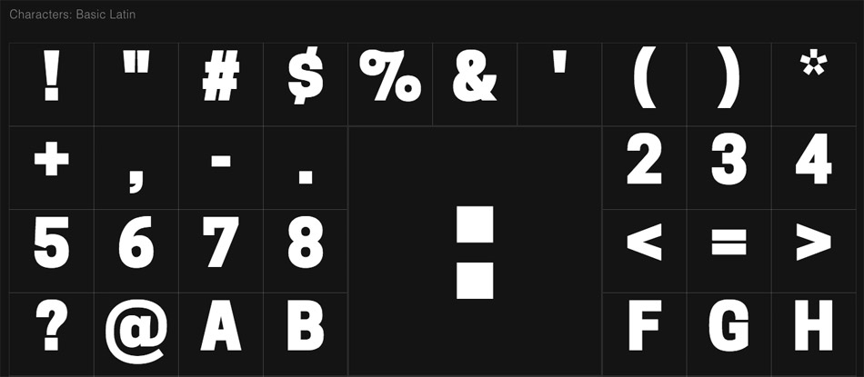Exemple de liste des caractères sur OpenFoundry