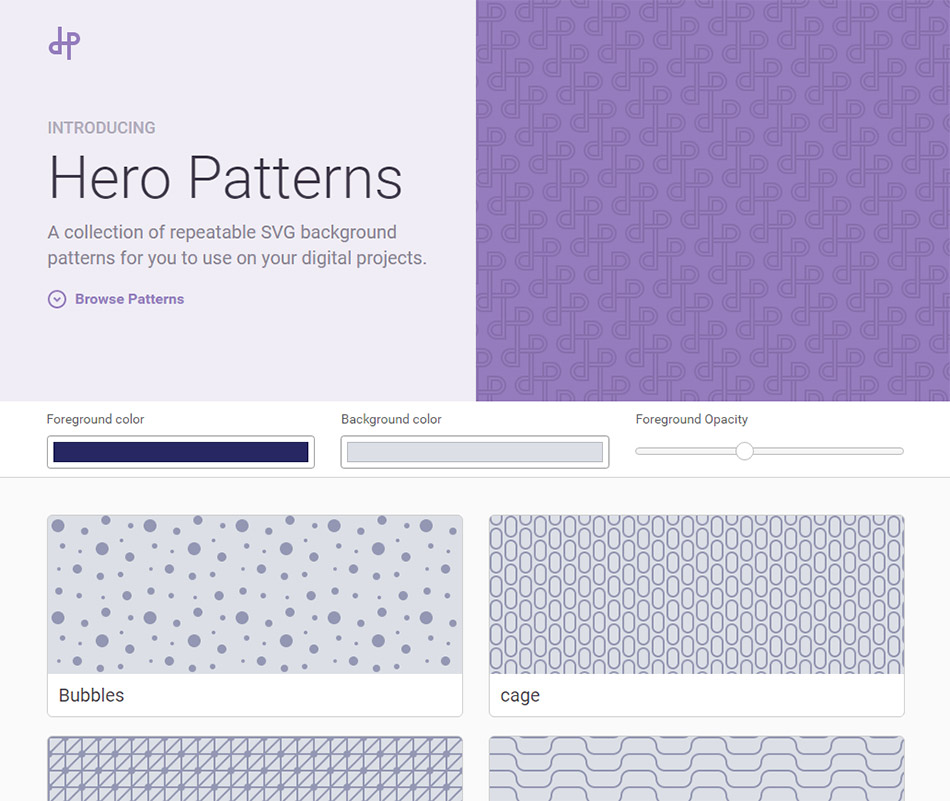 Hero Patterns : bibliothèque de fonds en SVG