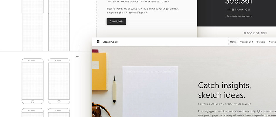 Sneakpeakit : télécharger des gabarits pour vos wireframes à imprimer