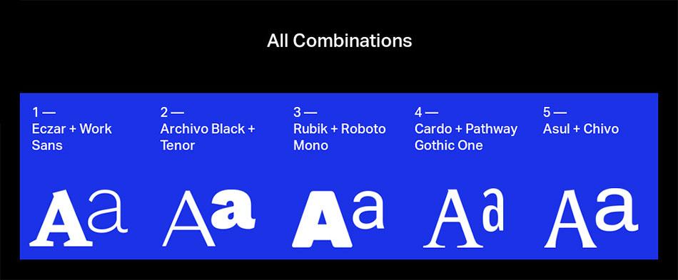 5 associations Google Font