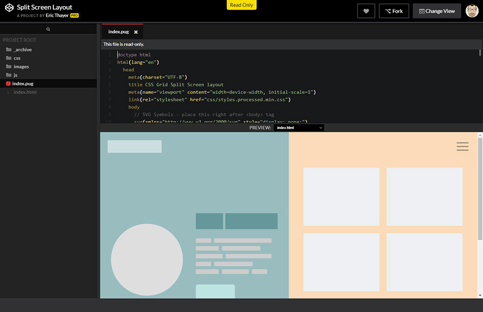 Exemple de projet sur CodePen Projects