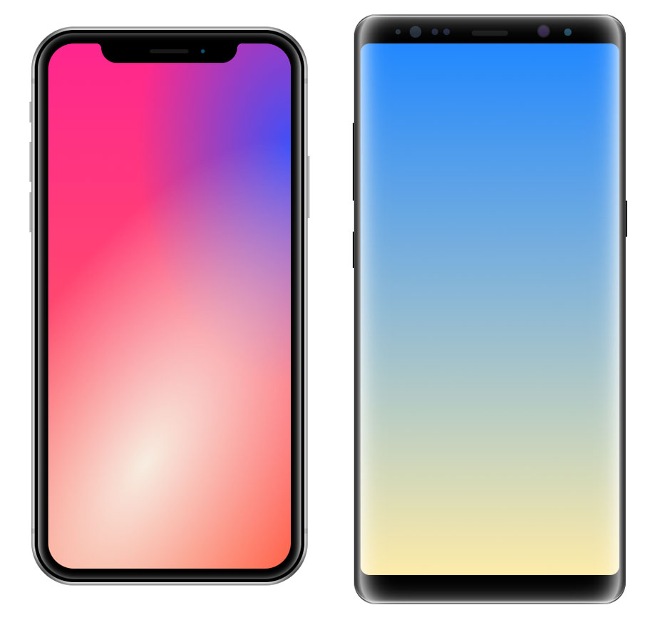 iPhone X et Galaxy Note 8 en pur CSS