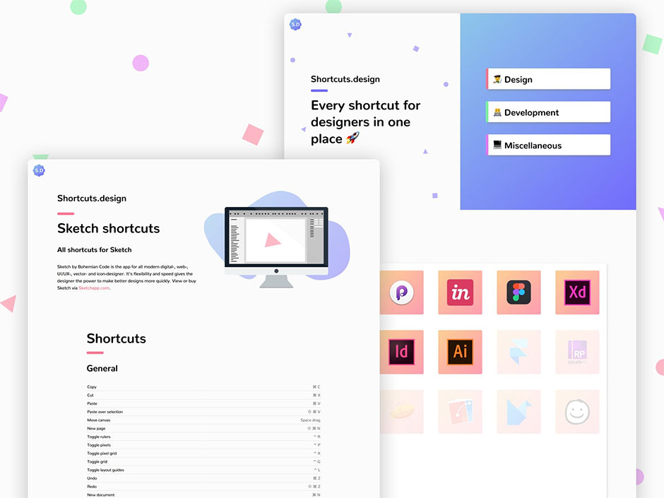 shortcuts.design exemple de raccourcis proposés