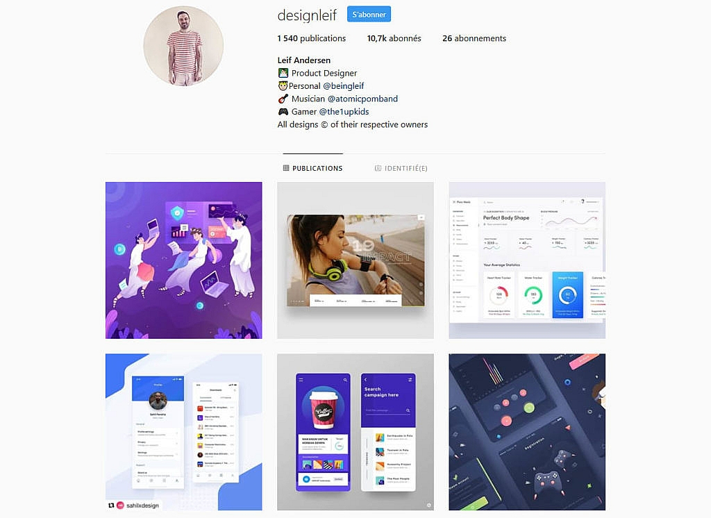 Compte instagram Designleif