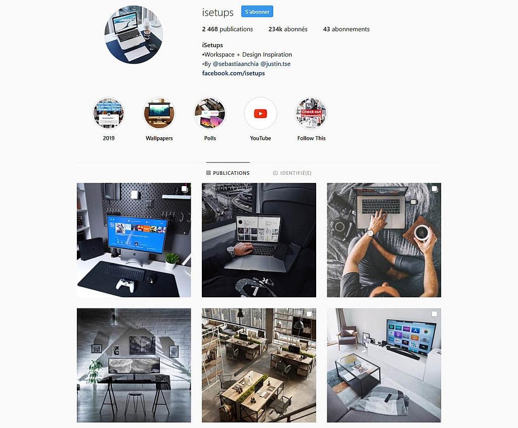 Compte instagram isetups