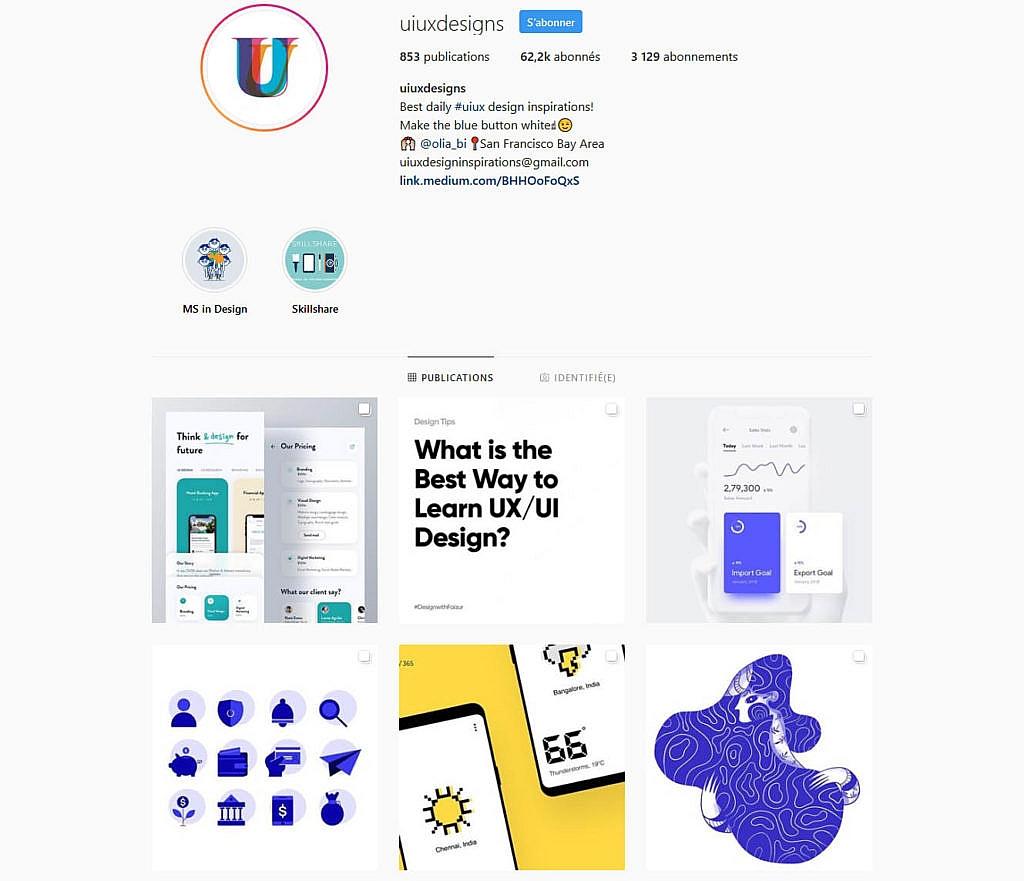 Compte instagram uiuxdesigns