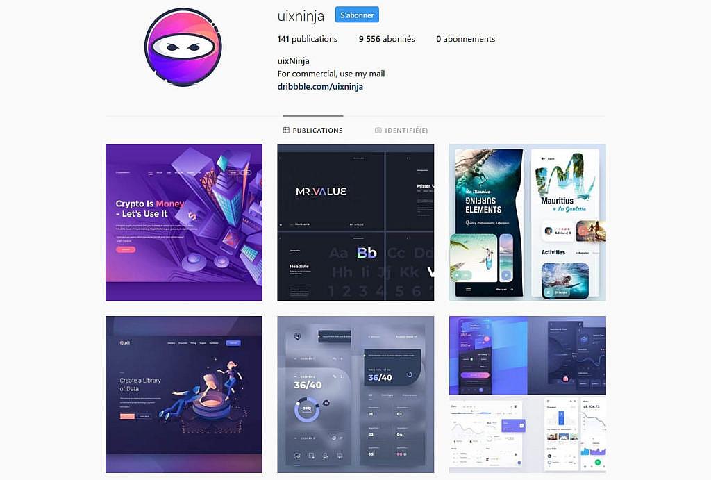 Compte instagram uixninja