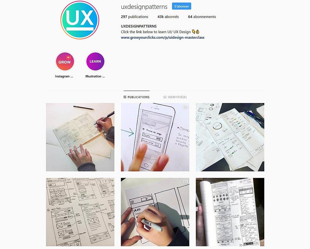 Compte instagram uxdesignpatterns