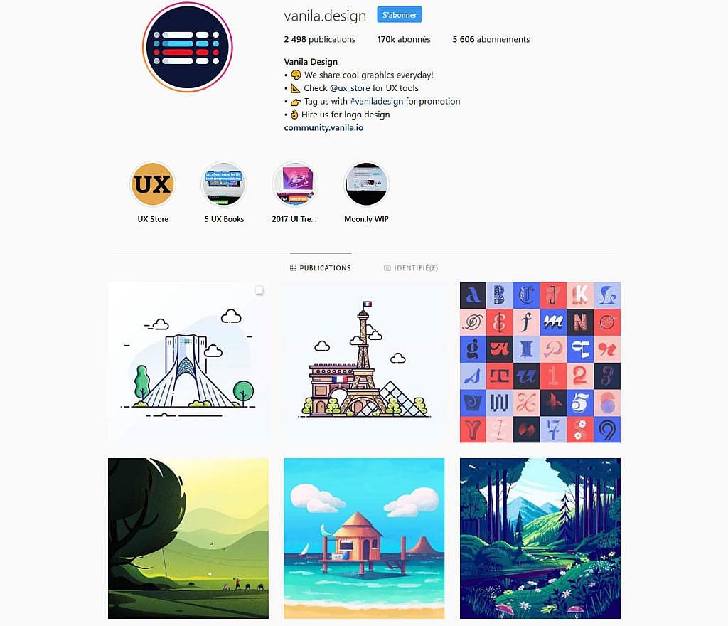 Compte instagram vanila.design