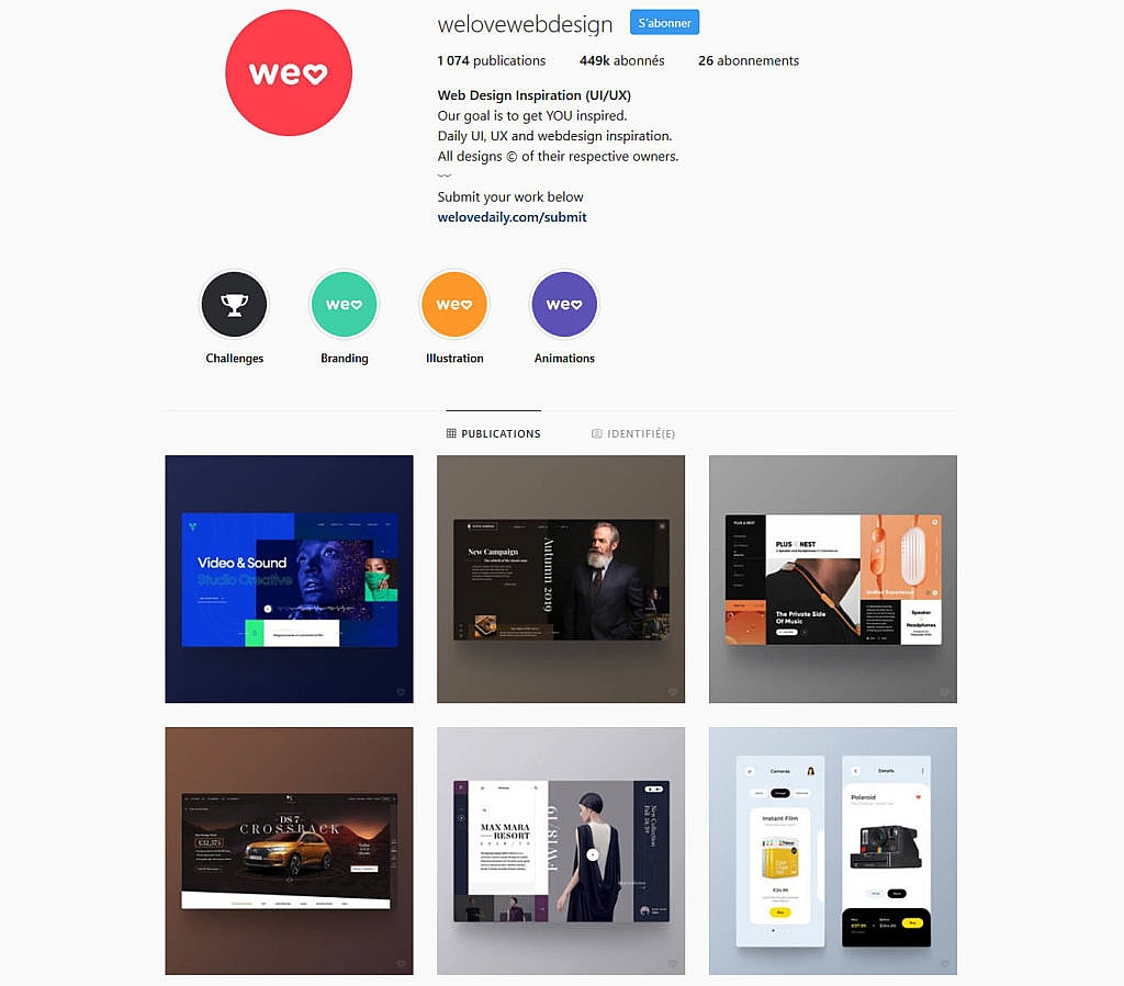 Compte instagram welovewebdesign