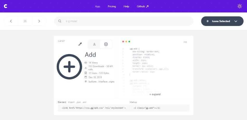 Exemple d'icone à télécharger sur CSS.gg